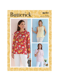 Butterick Sewing Pattern 6751 Misses'/Misses' Petite Pullover Tops from Jaycotts Sewing Supplies