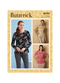 Butterick Sewing Pattern 6754 Misses' Keyhole-Closure Tops from Jaycotts Sewing Supplies