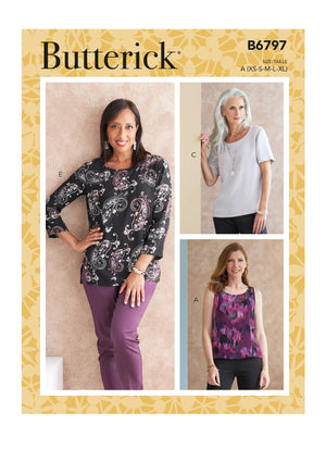 Butterick 6797 Misses' and Petite Scoop-neck Tops sewing pattern from Jaycotts Sewing Supplies