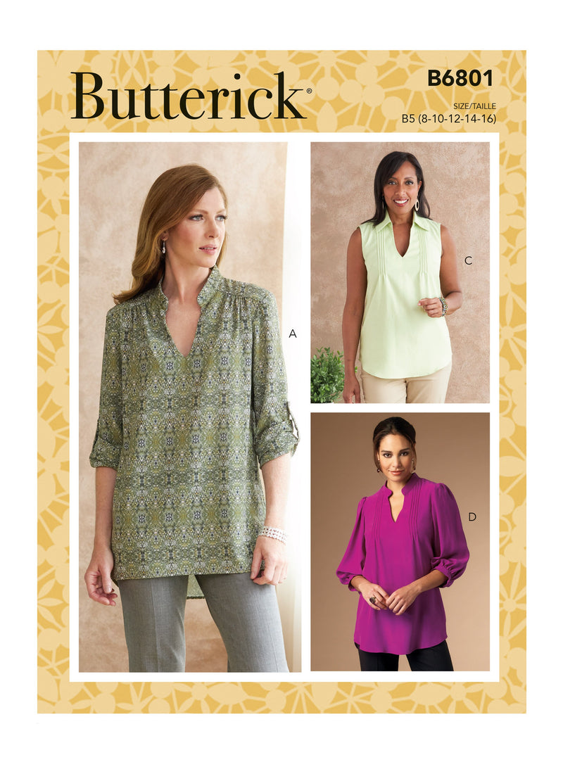 Butterick 6801 Misses' and Women's Tucked or Gathered Tops pattern from Jaycotts Sewing Supplies