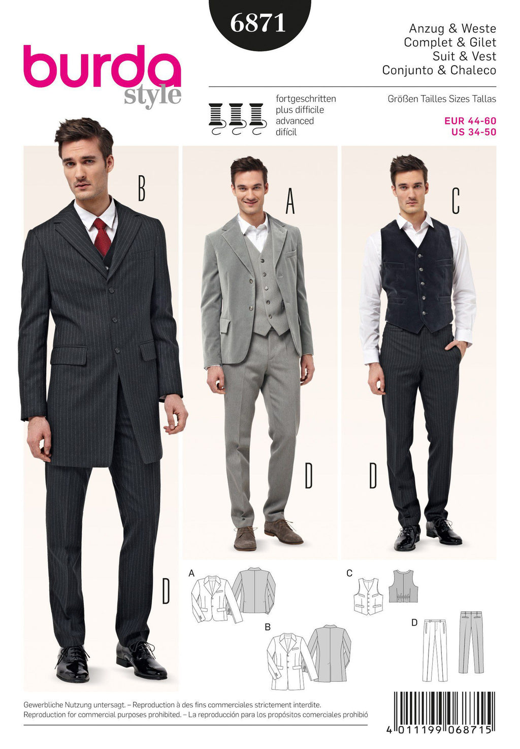 BD6871 Mens' Suit, Waistcoat & Frock Coat from Jaycotts Sewing Supplies