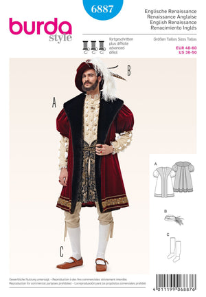BD6887 Mens' Renaissance Costume from Jaycotts Sewing Supplies