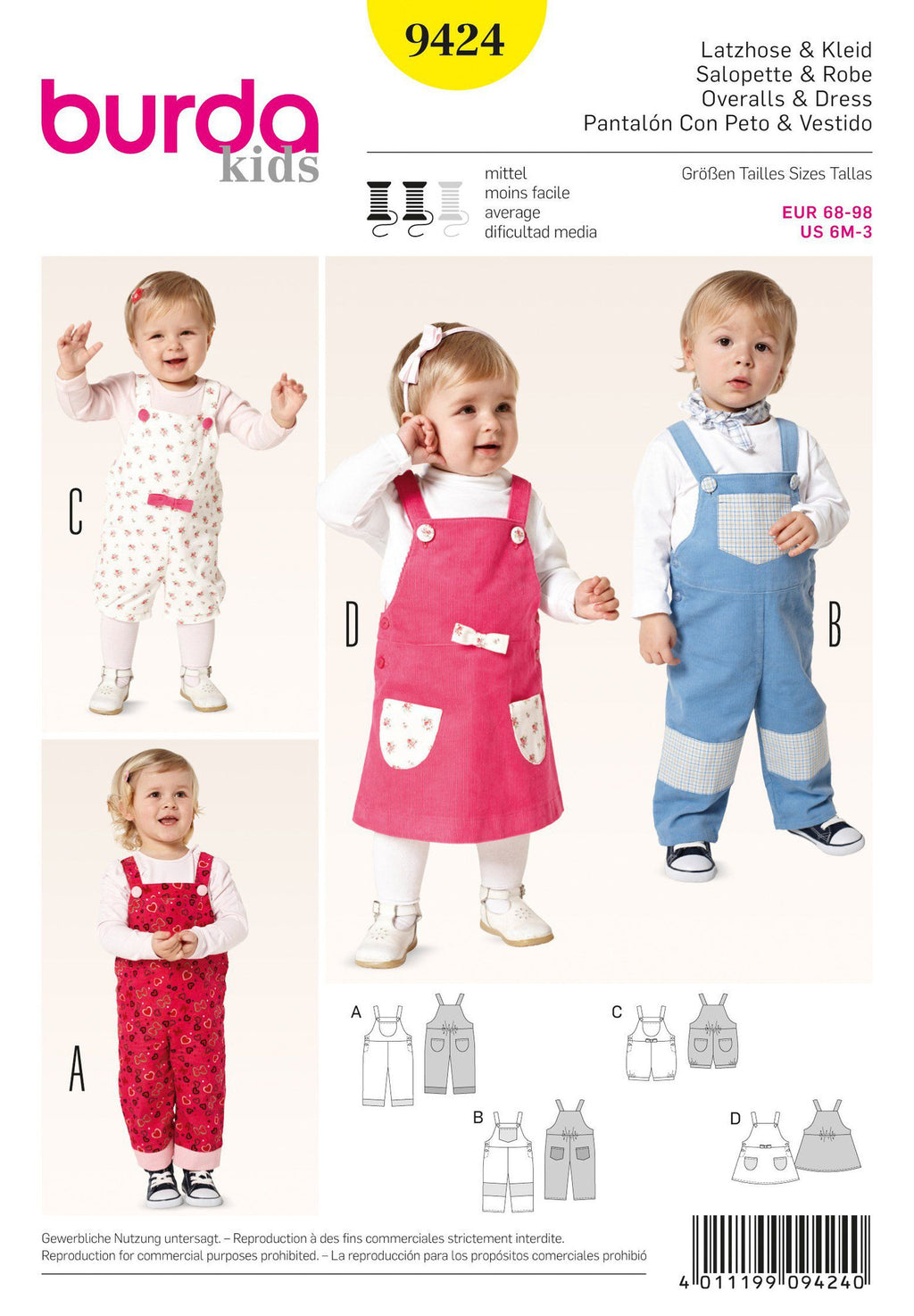 BD9424 Toddler Dungarees from Jaycotts Sewing Supplies