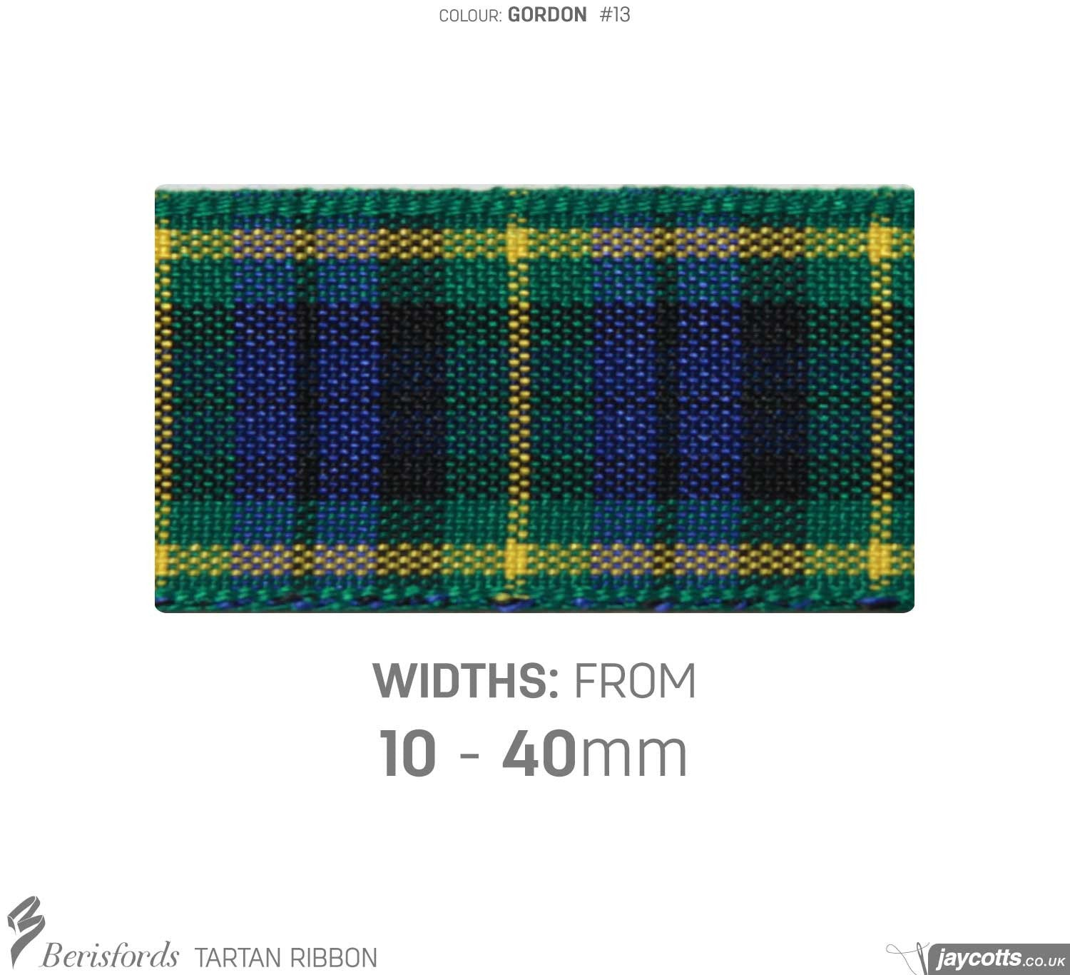 Berisfords Tartan Ribbon: #13 Gordon