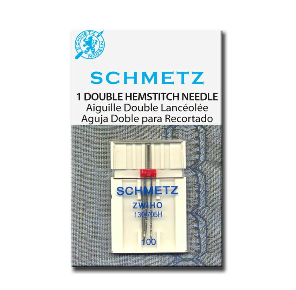 Double hemstitch needle for heirloom machine sewing