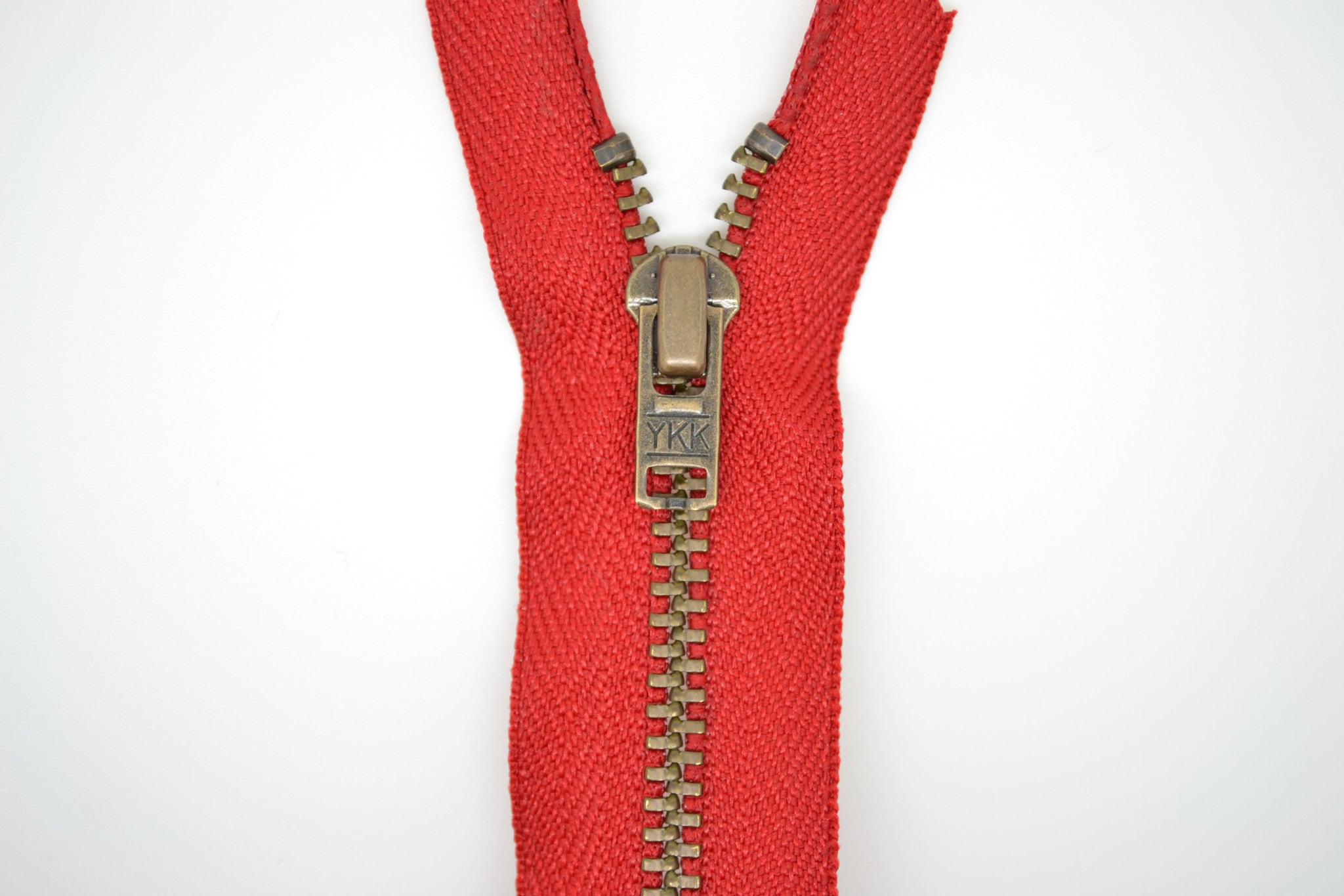 Metal Dress Zip | Antique Brass - RED