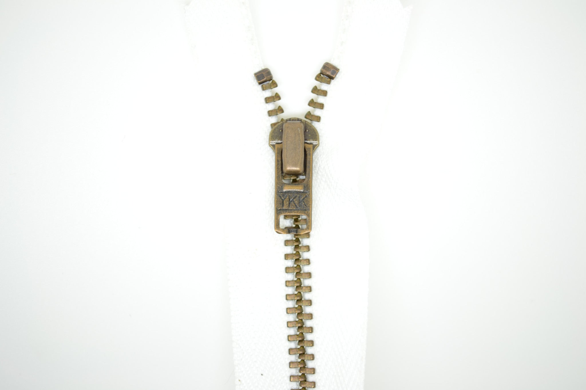 Metal Dress Zip | Antique Brass - WHITE