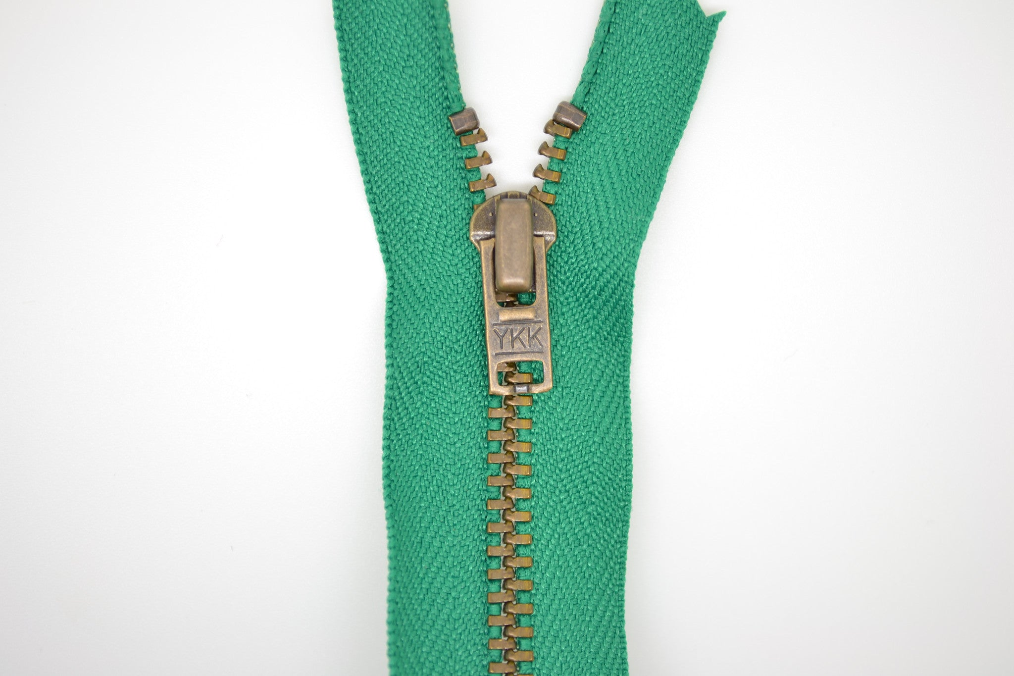 Metal Dress Zip | Antique Brass - BRIGHT GREEN