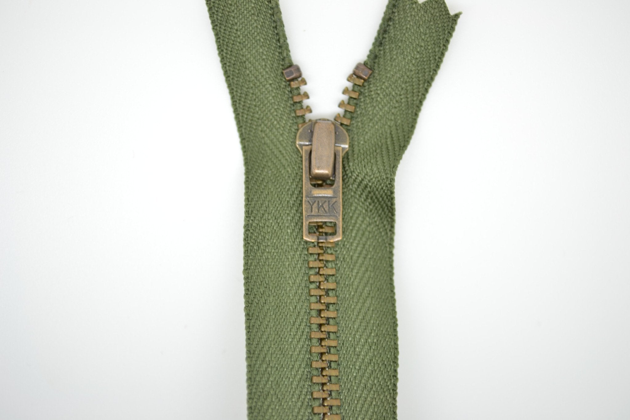 Metal Dress Zip | Antique Brass - KHAKI