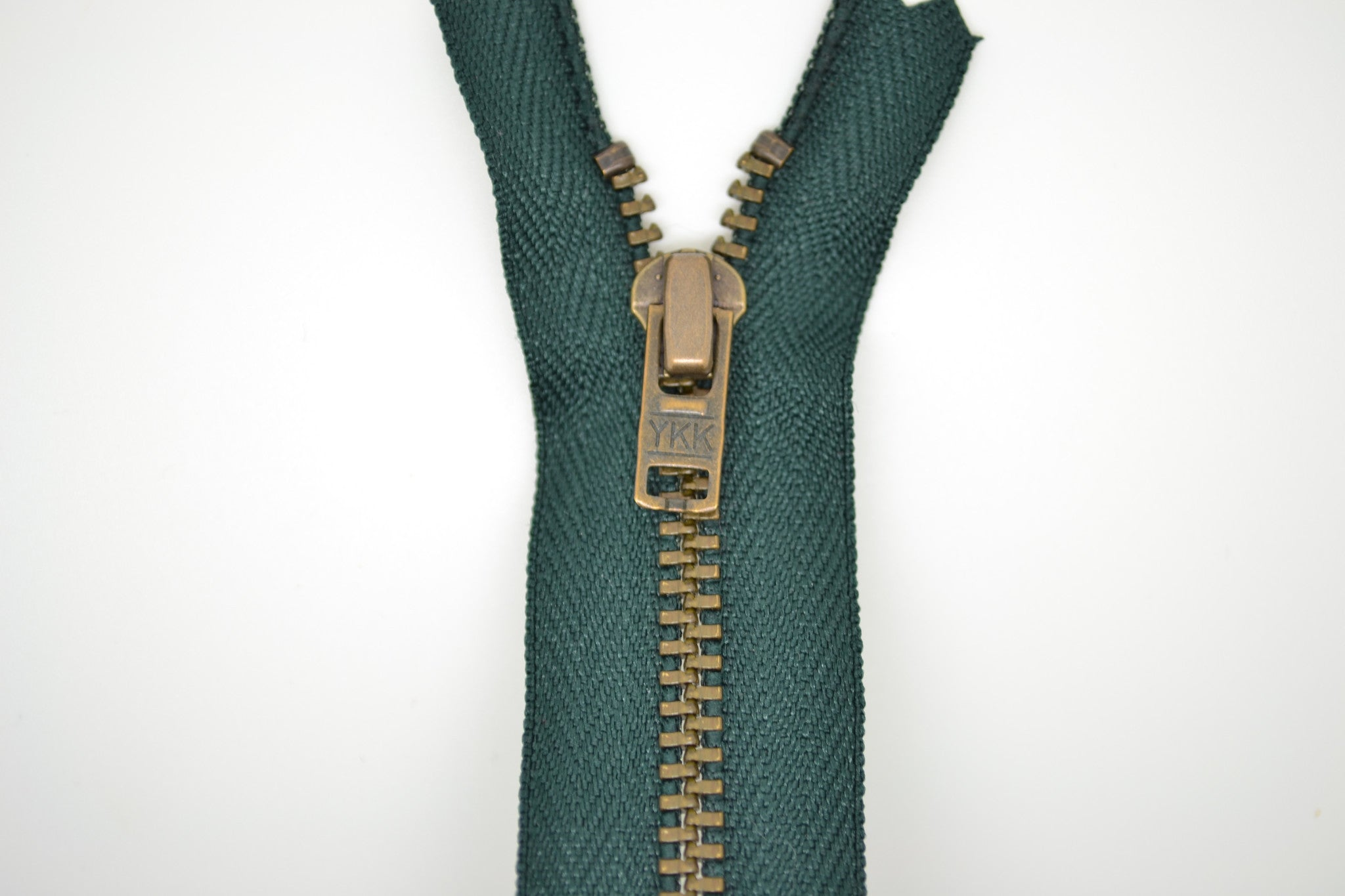Metal Dress Zip | Antique Brass - BOTTLE GREEN
