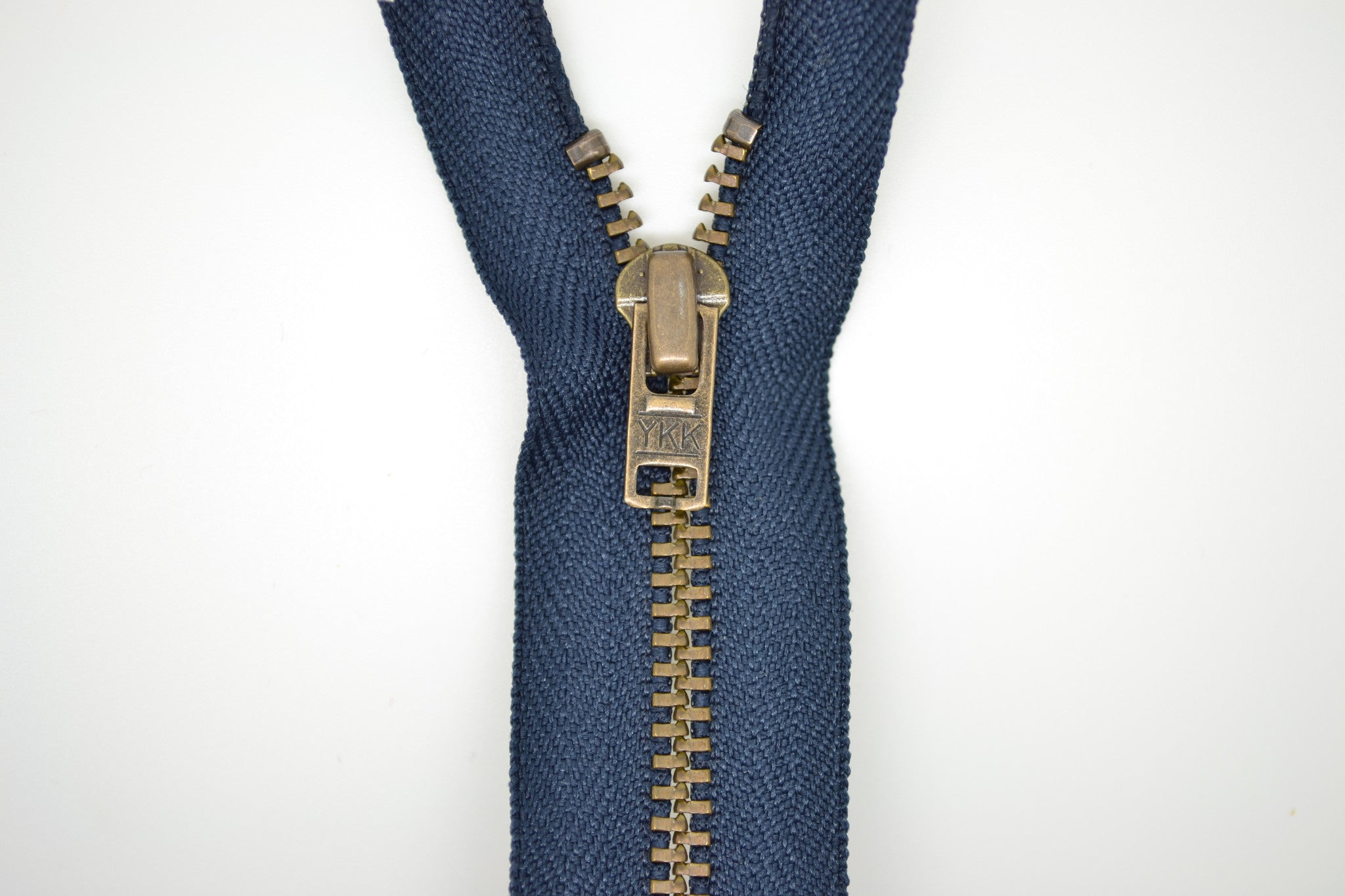 Metal Dress Zip | Antique Brass - NAVY