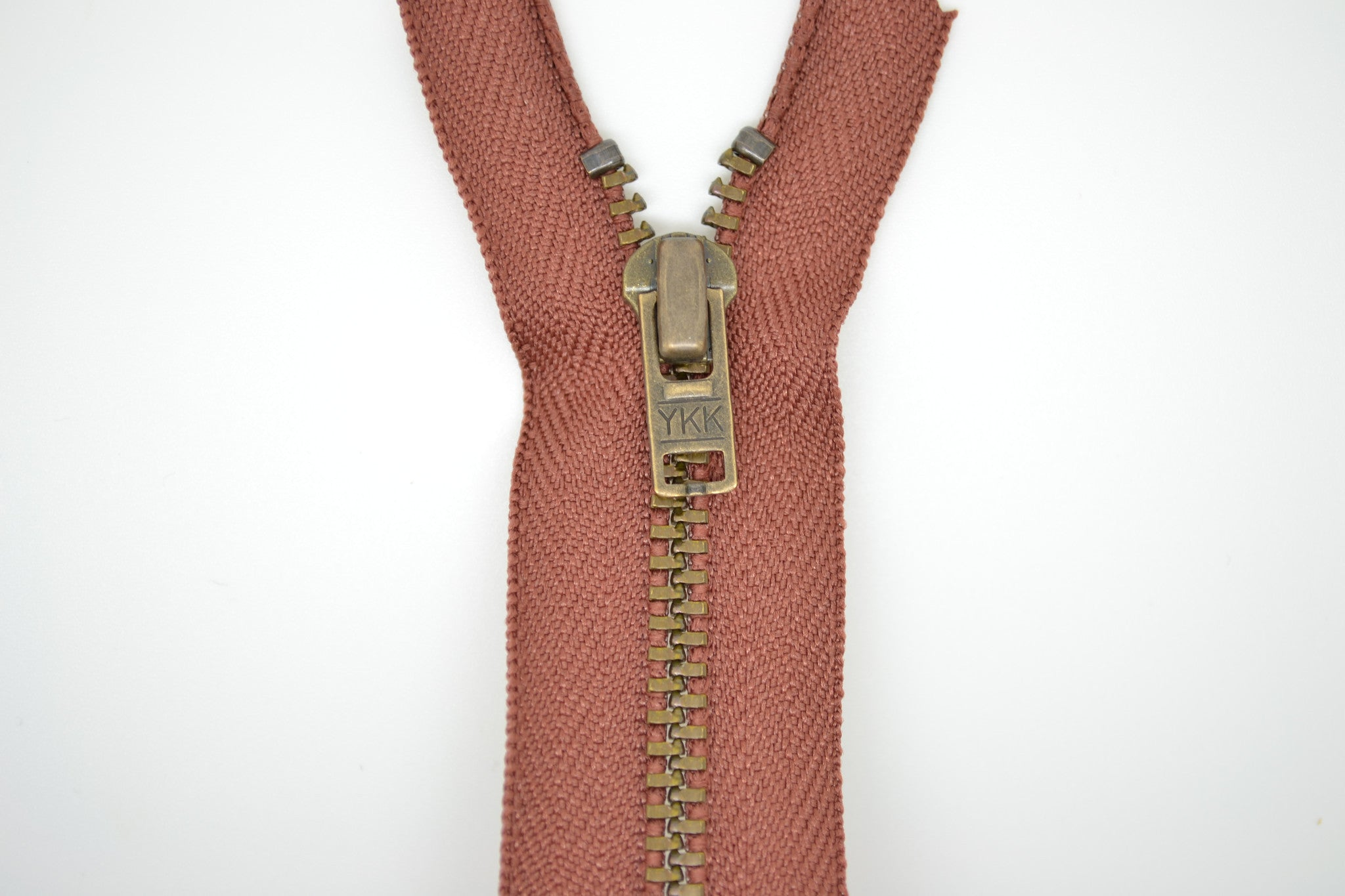 Metal Dress Zip | Antique Brass - MID BROWN