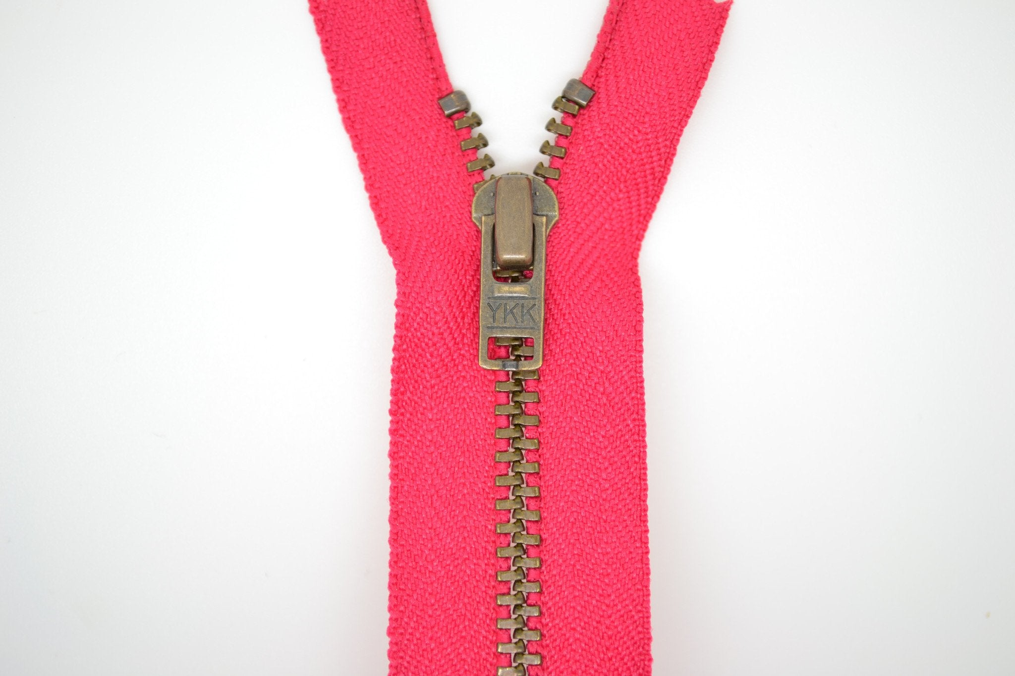 Metal Dress Zip | Antique Brass - FUCHSIA