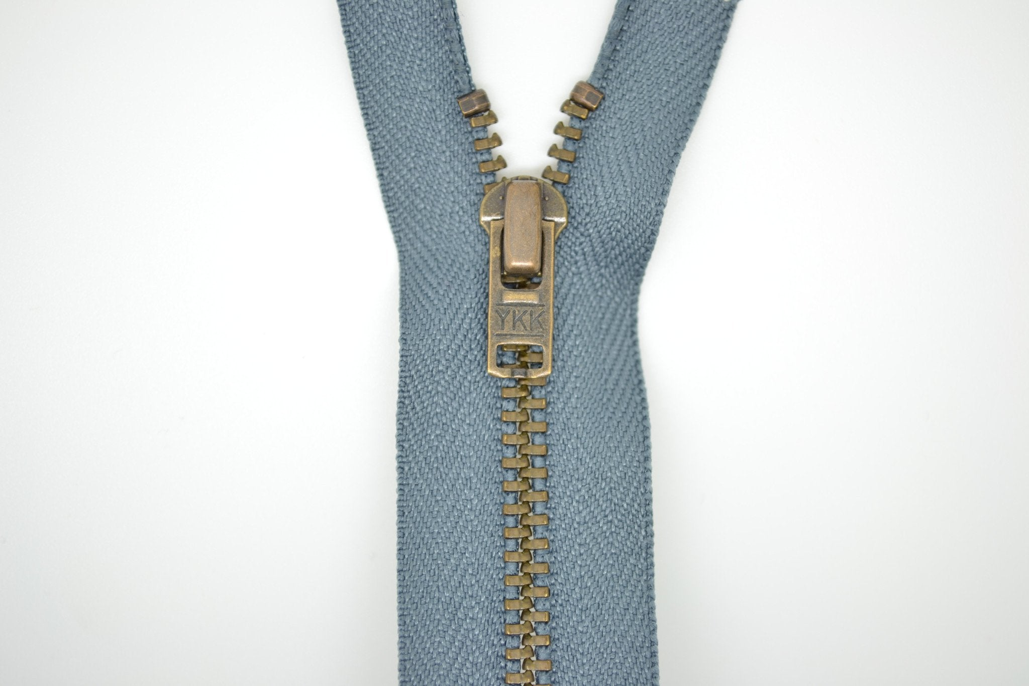 Metal Dress Zip | Antique Brass - MID GREY