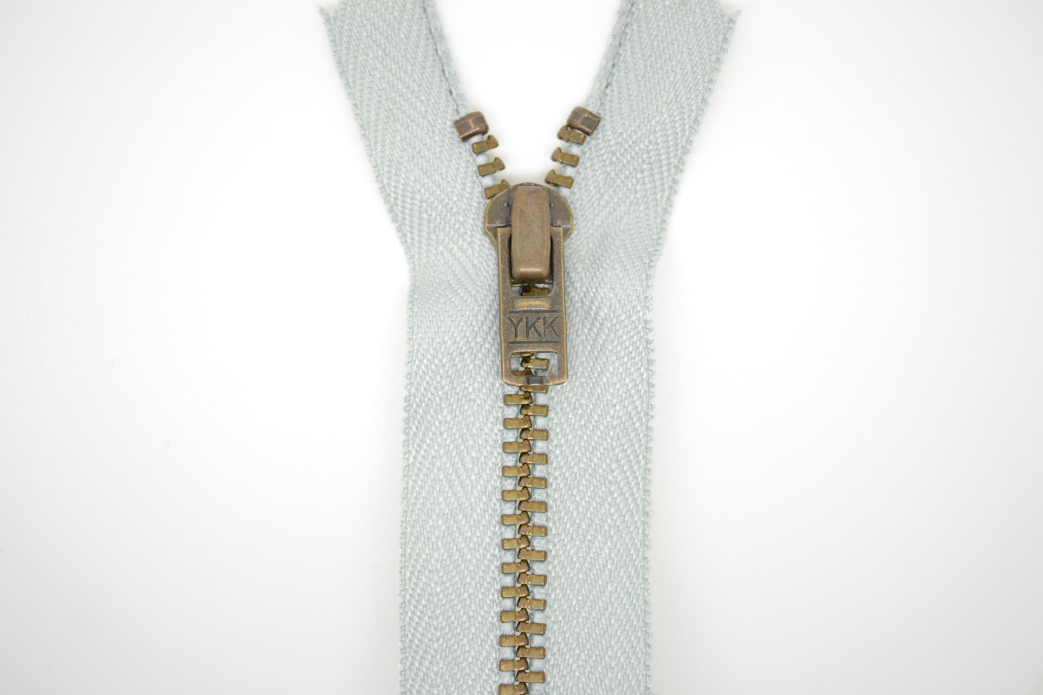 Metal Dress Zip | Antique Brass - LIGHT GREY