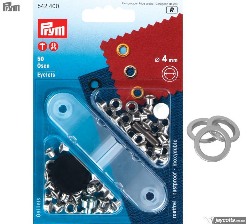 PRYM Metal Eyelets - Silver (Non-Sew) from Jaycotts Sewing Supplies