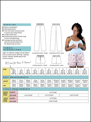 Tilly & The Buttons JAIMIE PYJAMA BOTTOMS AND SHORTS pattern from Jaycotts Sewing Supplies