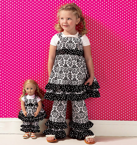 Kwik Sew 0135 Girls' Top, Pants & Overalls; Dolls' Top & Pants