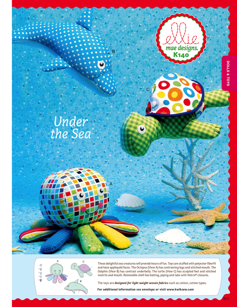 Kwik Sew 0140 Undersea Toys from Jaycotts Sewing Supplies