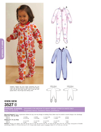Kwik Sew 3527 Toddlers' Sleepers