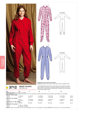 Kwik Sew 3712 Misses Pyjamas from Jaycotts Sewing Supplies