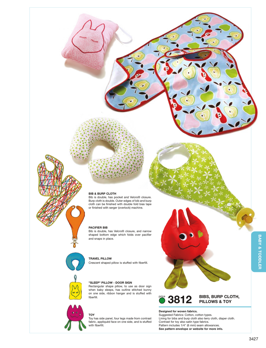 Kwik Sew 3812 Bibs, Burp Cloth, Pillows & Toy from Jaycotts Sewing Supplies