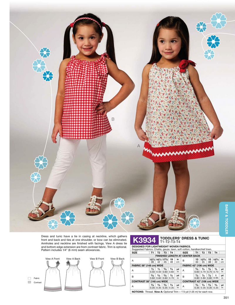 Kwik Sew 3934 Toddlers' Dress & Tunic