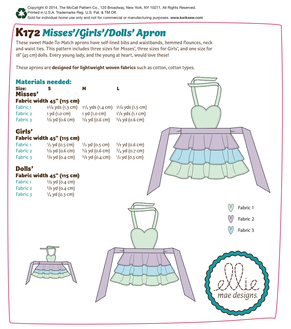 K0172 Misses'/Girls'/Dolls' Apron