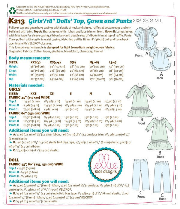 "Kwik Sew 0213 Girls'/18"" Dolls' Top, Gown and Pants"