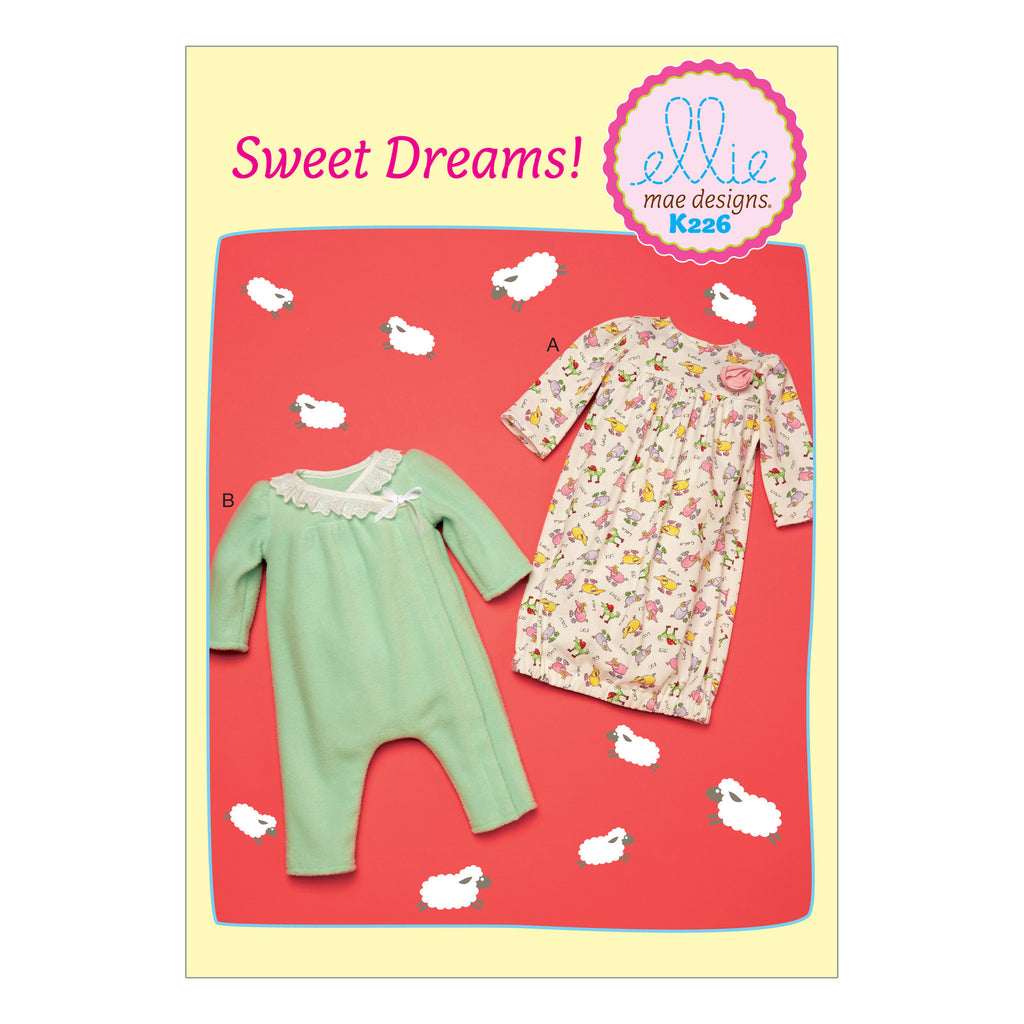 Kwik Sew 0226 Infants' Gathered Gown and Wrap-Front Jumpsuit from Jaycotts Sewing Supplies