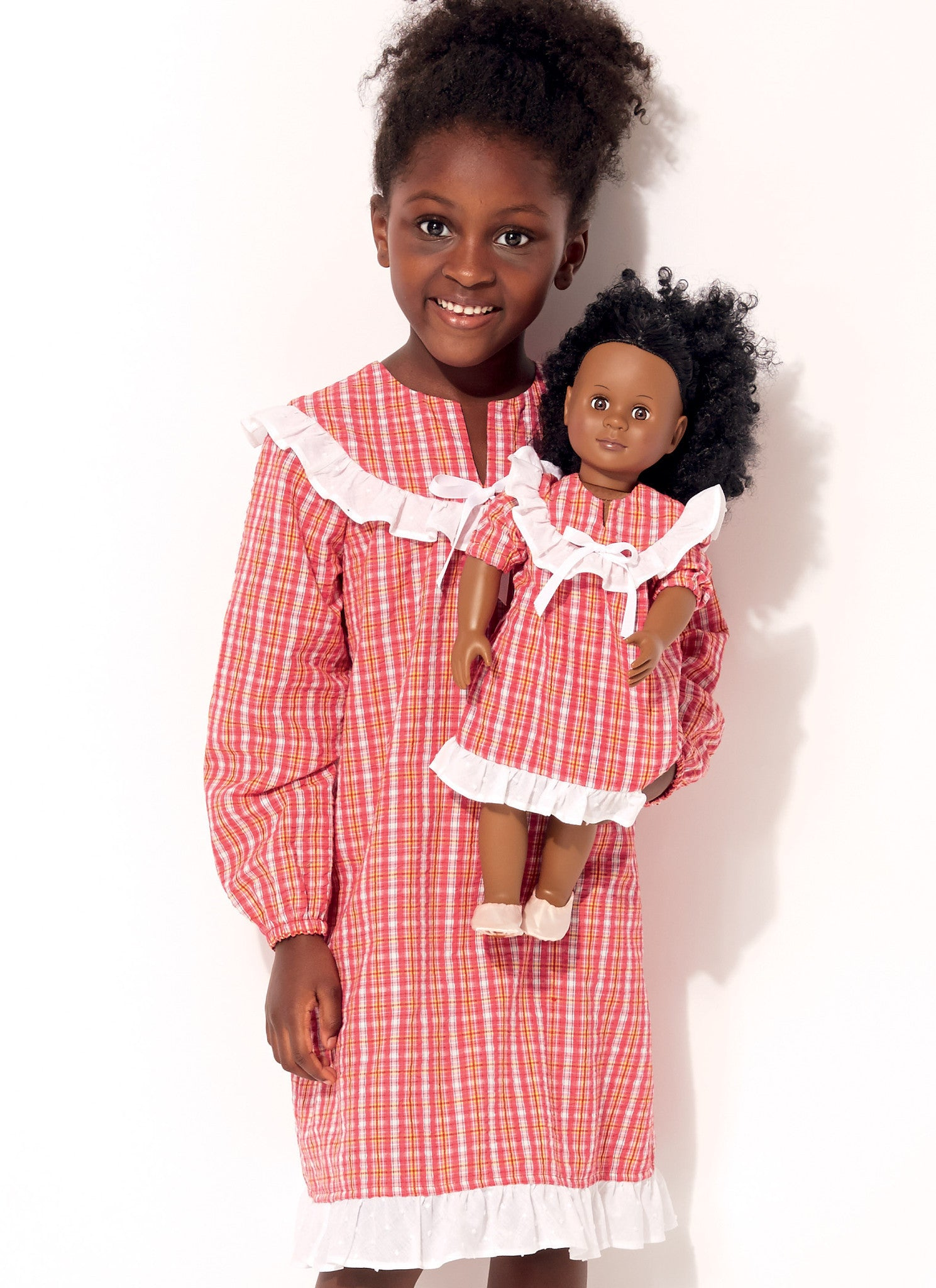 "K0227 Girls' and 18"" Doll Ruffled, Notch-Neck Top, Dress and Pants"