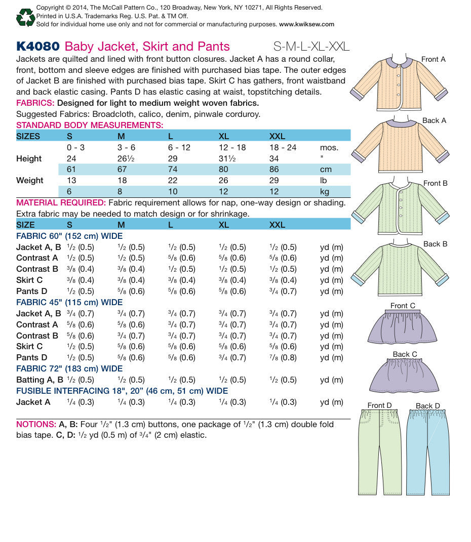 K4080 Baby Jacket, Skirt & Pants