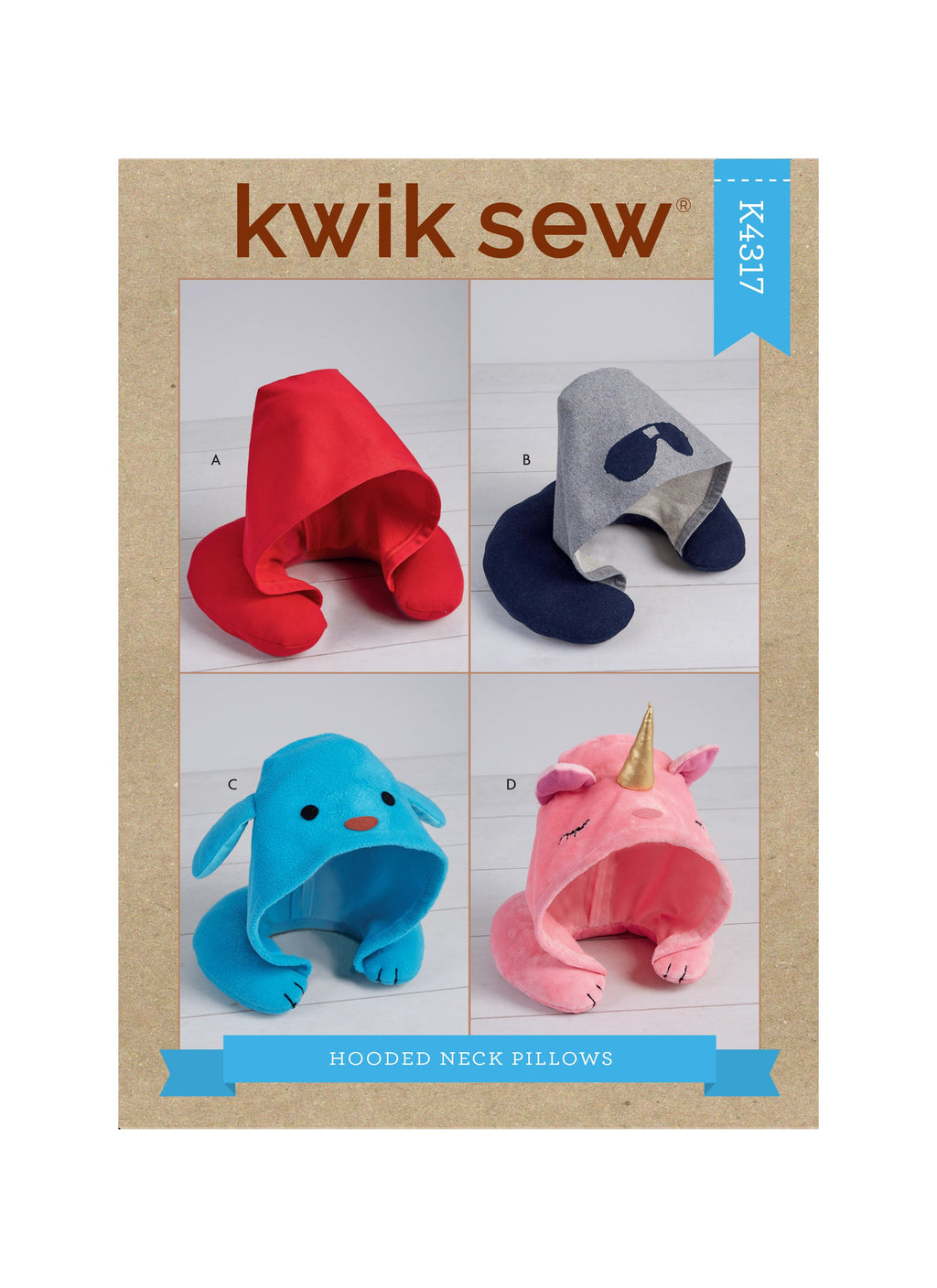 Kwik Sew 4317 Adults' and Kids' Hooded Travel Neck Pillows pattern