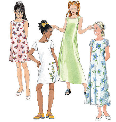 M6098 Girls' Dresses In 2 Lengths from Jaycotts Sewing Supplies