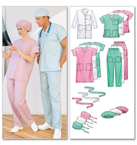M6107 Misses'/Men's Lab Coat, Dress, Top, Pull-On Pants, Hats & Tie Belt