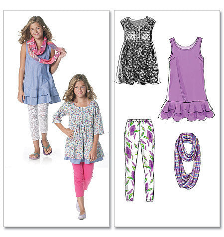 M6275 Girls' Dresses, Scarf & Leggings