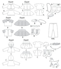 M6669 Clothes For 18' Doll, Accessories & Dog