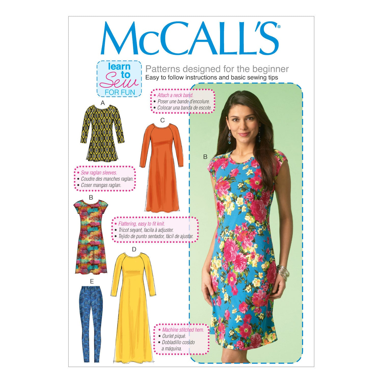M7122 Misses' Tunic, Dresses and Leggings