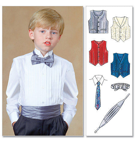 M7223 Children's/Boys' Lined Vests, Cummerbund, Bow Tie and Neck