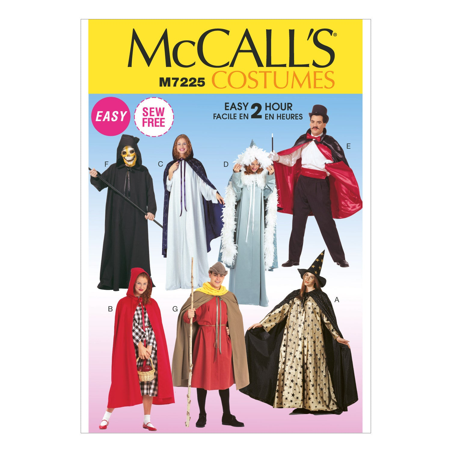 M7225 Misses', Men's and Teen Boys' Cape and Tunic Costumes