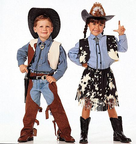 M7226 Children's, Boys' and Girls' Cowboys and Indians Costumes