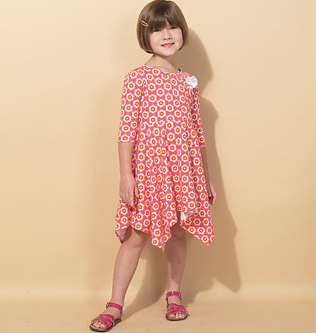 M7309 Children's/Girls' Handkerchief-Hem Dresses