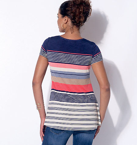 M7323 Misses' Asymmetrical Seam Detail Tops
