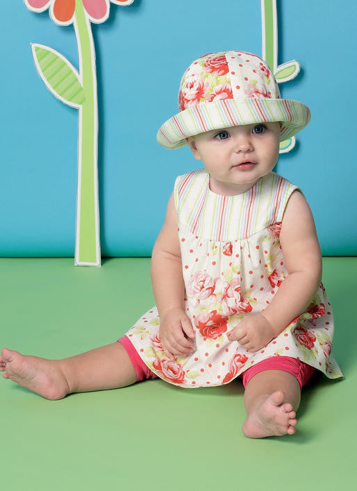 M7342 Infants back-bow dresses, leggings & hat from Jaycotts Sewing Supplies
