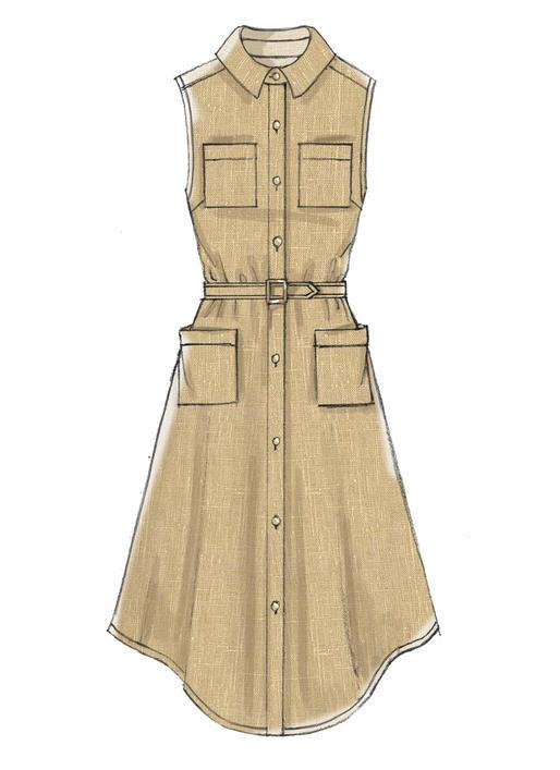 M7351 Misses' Shirtdress with pockets and belt