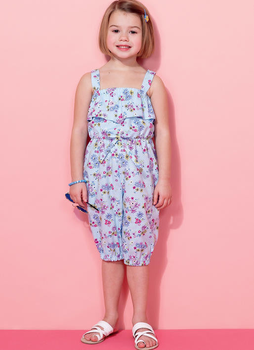 M7376 Girls Blouson-Bodice Rompers and Jumpsuits