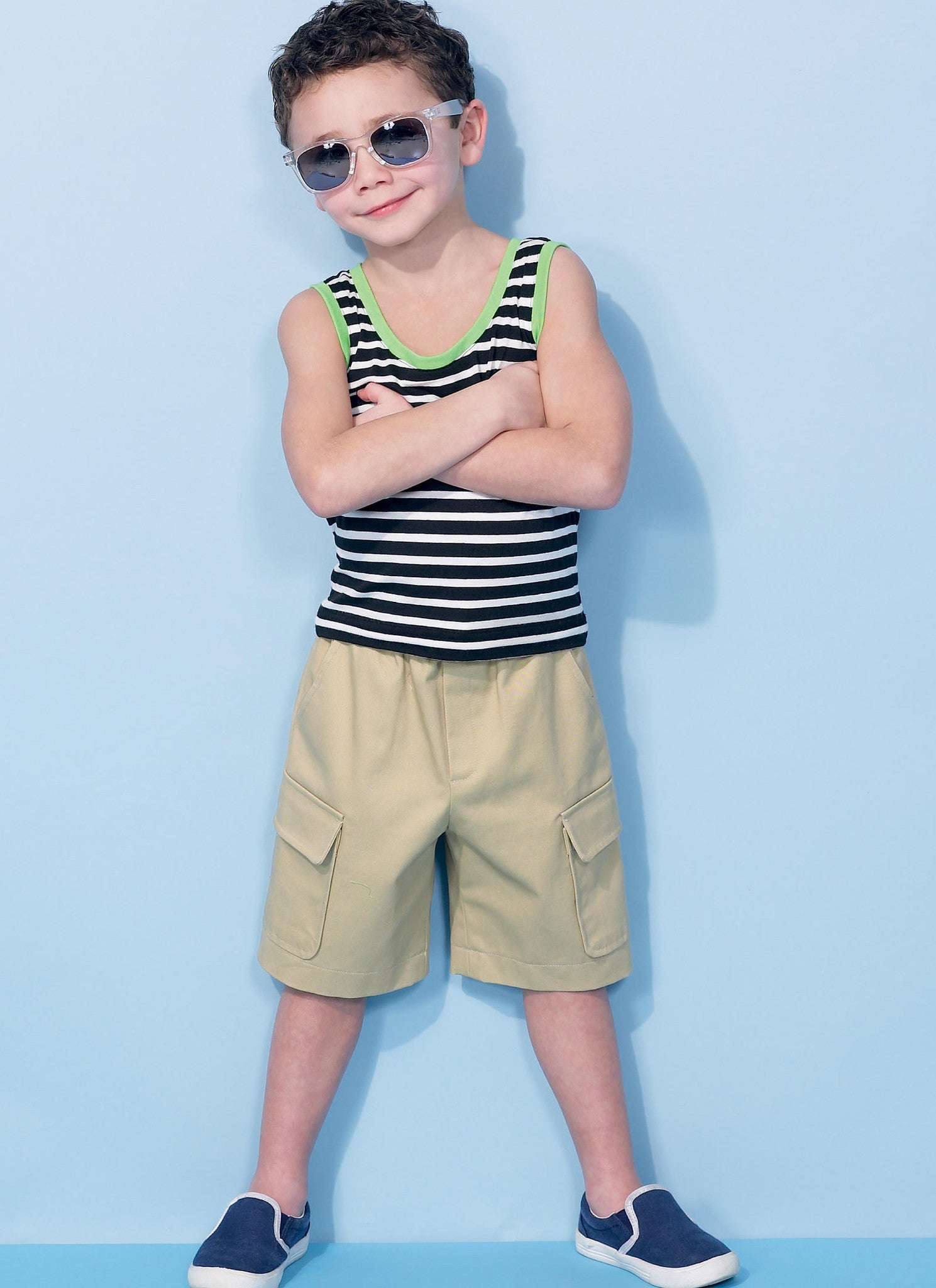 M7379 Boys Raglan Sleeve and Tank Tops, Cargo Shorts & Pants
