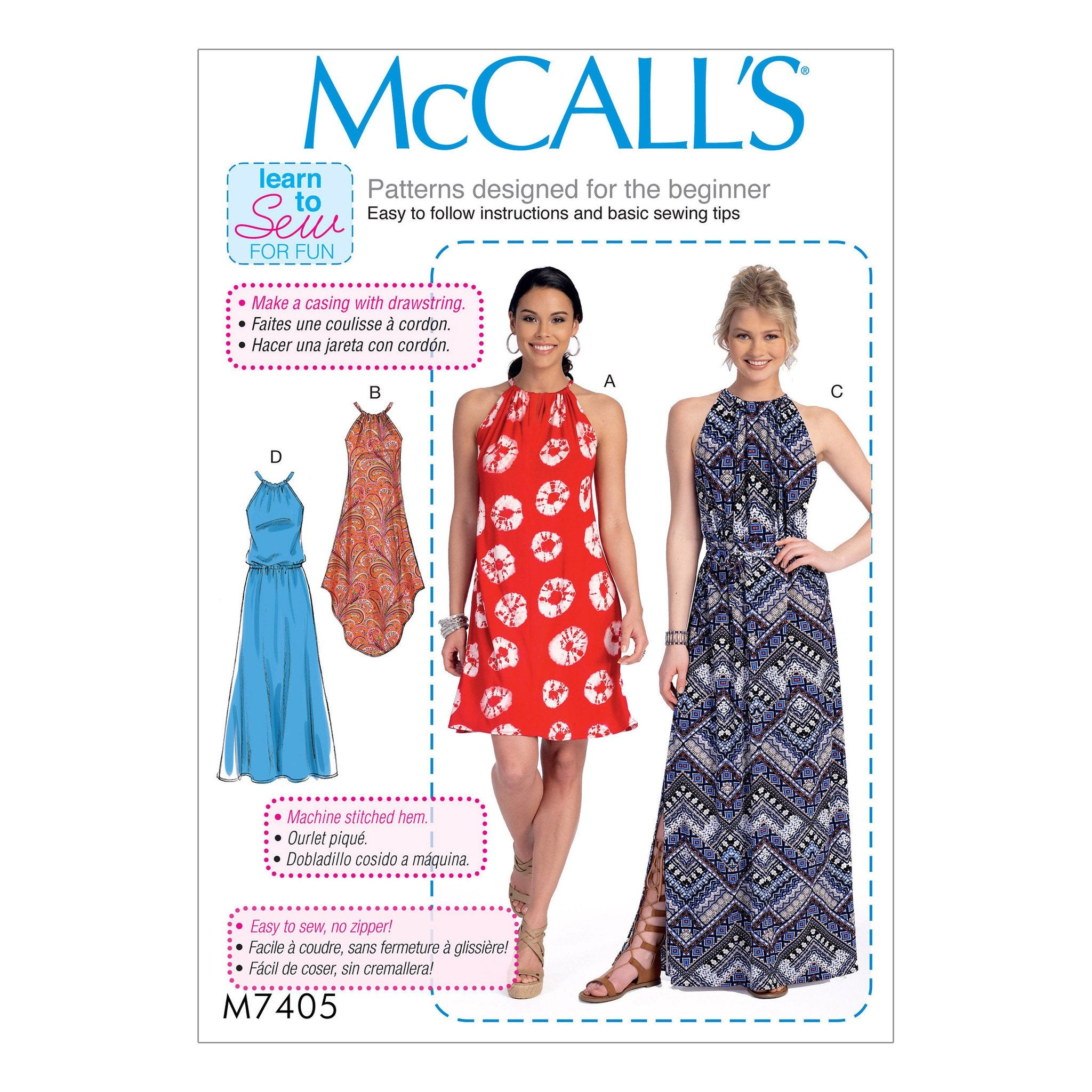 M7405 Dresses and belt McCalls pattern