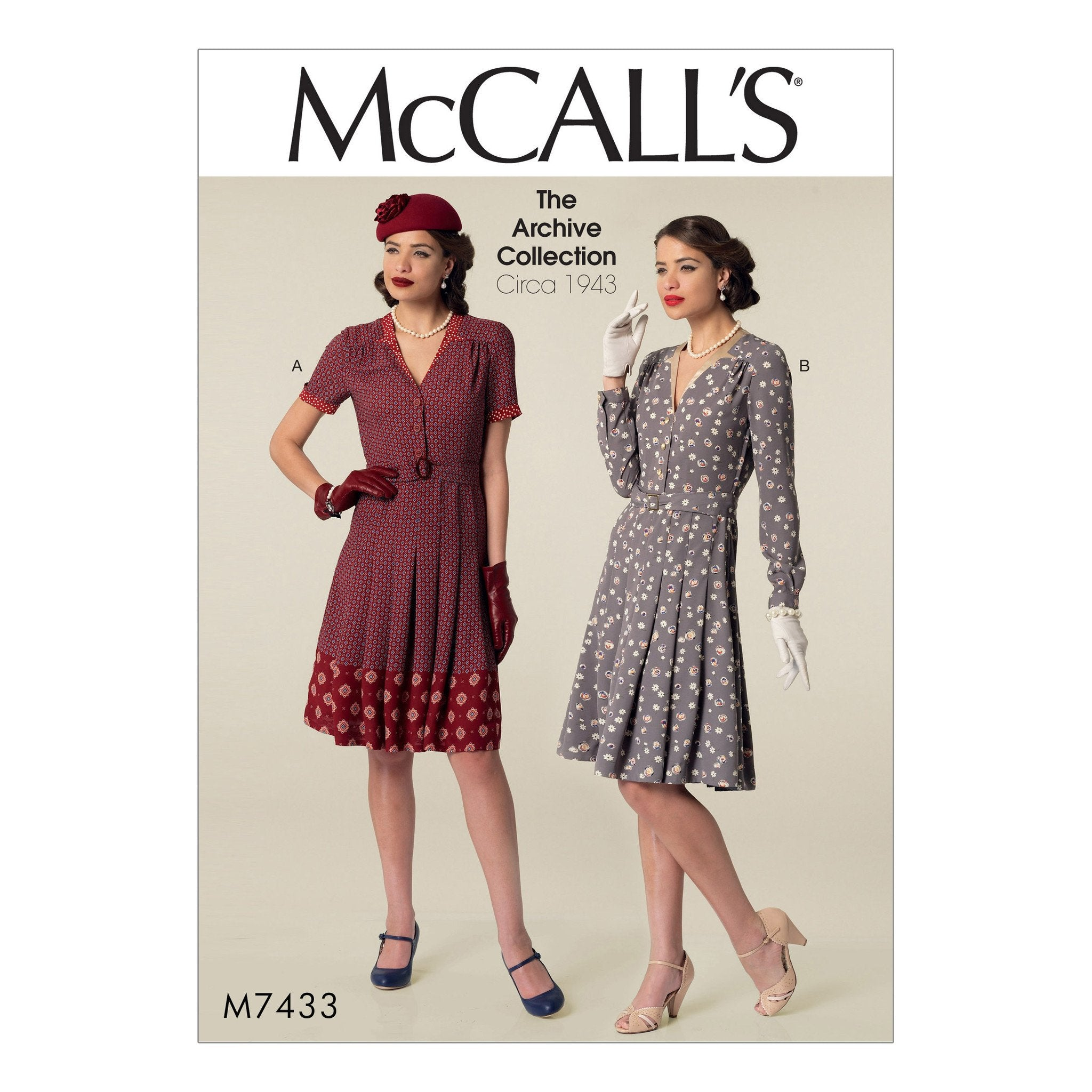 M7433 Misses' Inverted Notch-Collar Shirtdresses and Belt