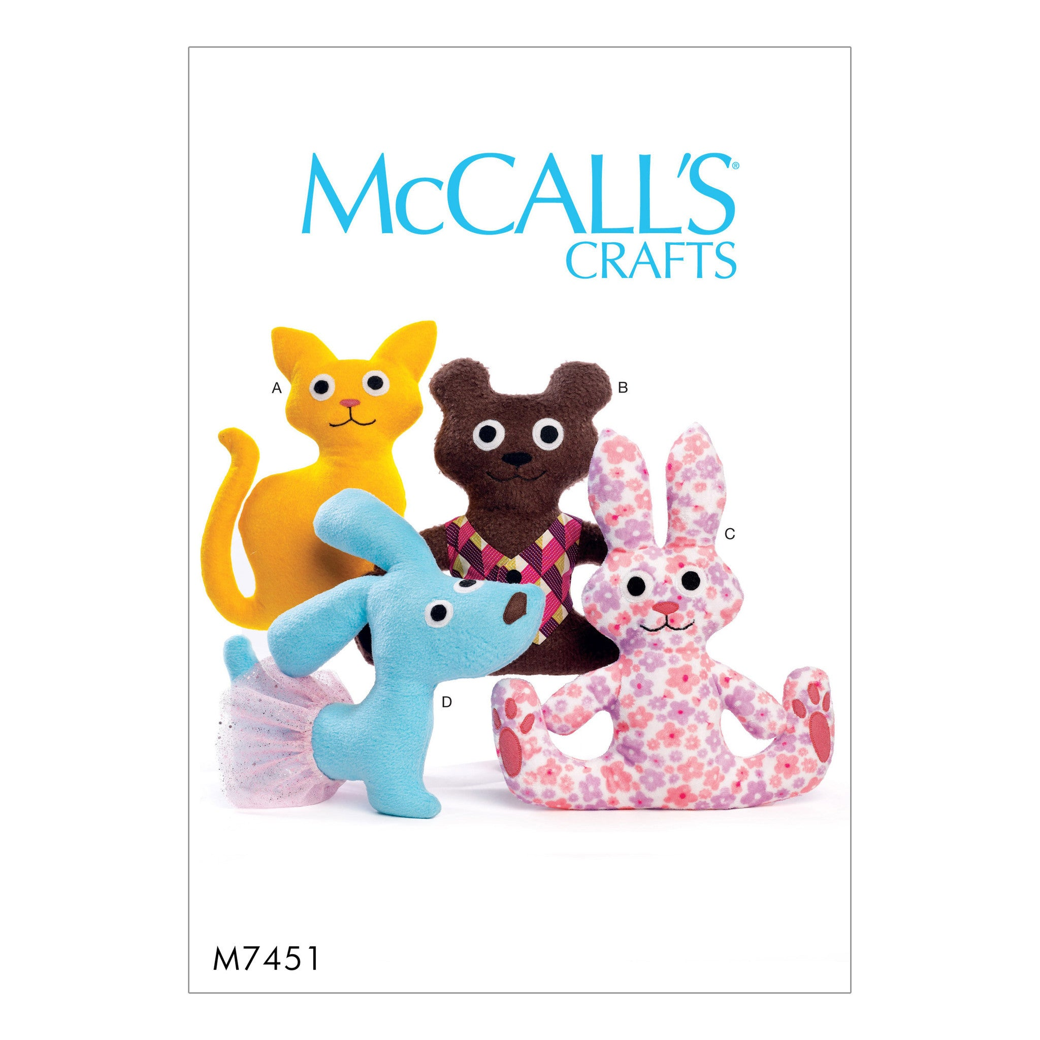 M7451 Cat, Bear, Rabbit and Dog Stuffed Animals